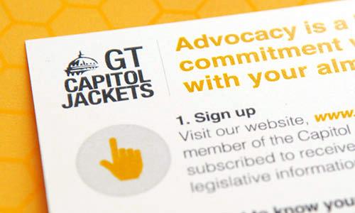 close up photo of Capitol Jackets logo on an info card